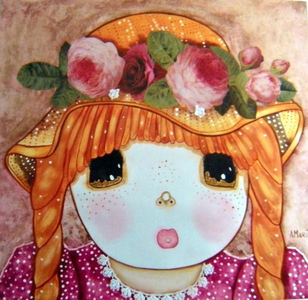 Marie au chapeau de roses dans Poupées marie-